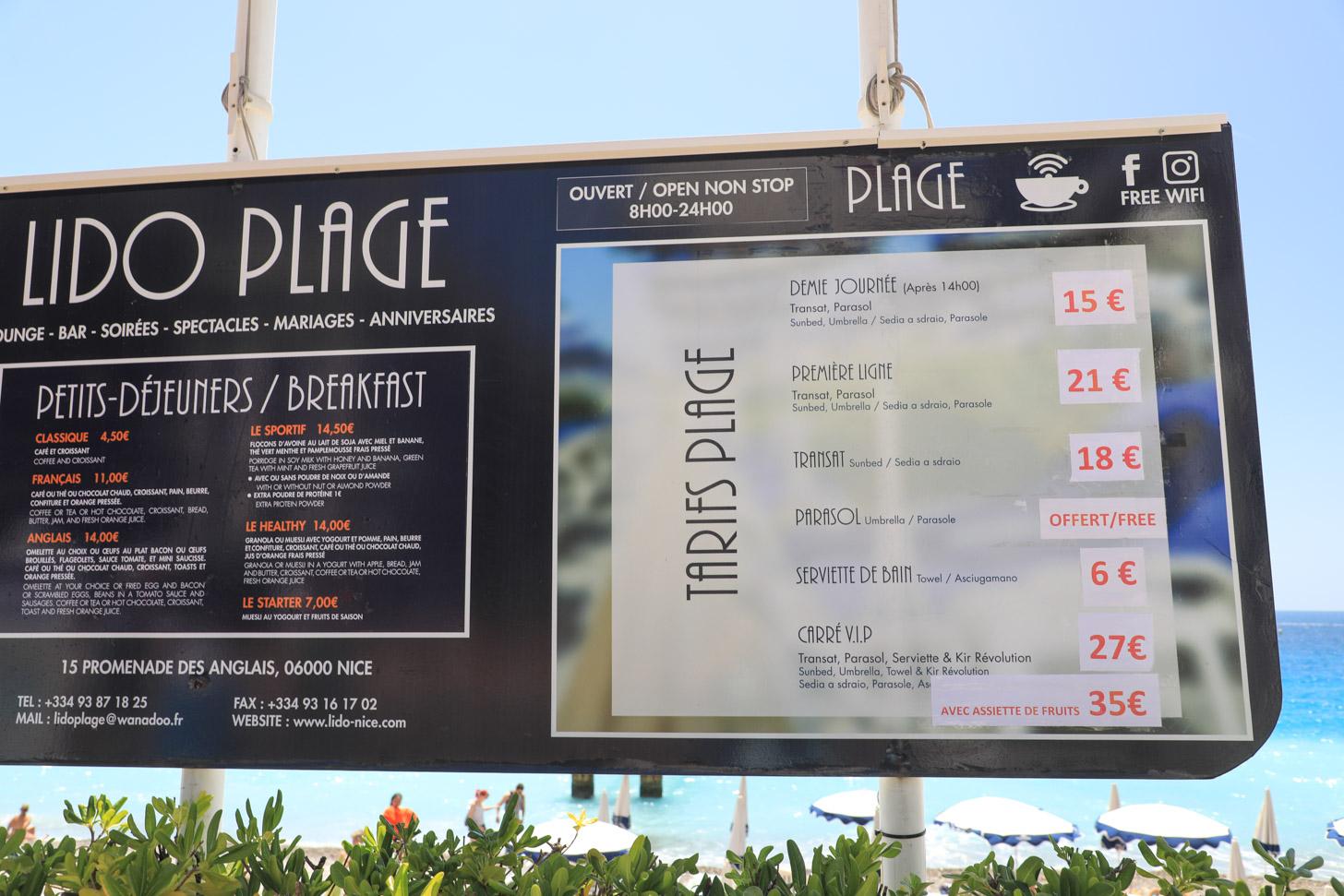 Prijzen op het strand van Nice
